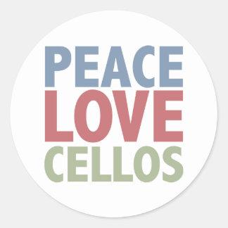 Violoncelos del amor de la paz pegatina redonda