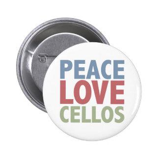 Violoncelos del amor de la paz pin redondo de 2 pulgadas