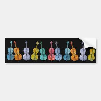 Violoncelos multicolores etiqueta de parachoque