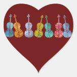 Violoncelos multicolores pegatina en forma de corazón