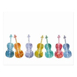 Violoncelos multicolores tarjeta postal