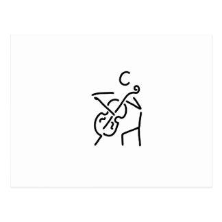 violonist cellistin streicher against bass postcard