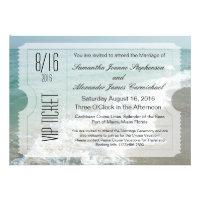 VIP Beach Destination Wedding Ticket Invitation