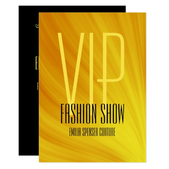 Vip Fashion Show Event Yellow Invitation Card