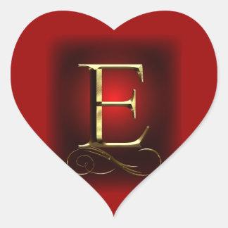 "VIP Gold ""E"" monogram in red and black Heart Sticker"
