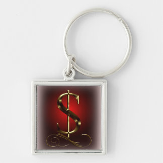 $ VIP Gold  in red and black Silver-Colored Square Keychain