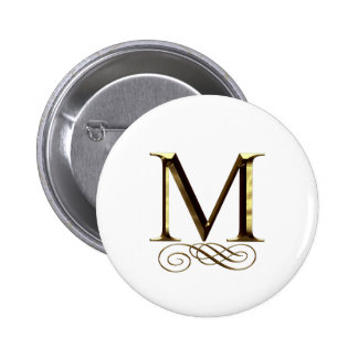 "VIP Gold ""M"" monogram Pinback Buttons"
