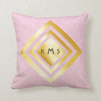 Vip Gold Pink Geometric Monogram Pillow