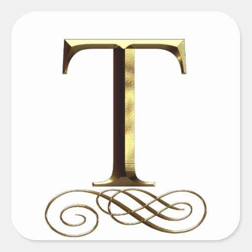 "VIP Gold ""T"" monogram Square Sticker"