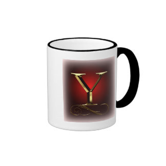 "VIP Gold ""Y"" monogram in red and black Ringer Coffee Mug"
