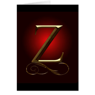 """VIP Gold """"Z"""" monogram in red and black Greeting Card"""