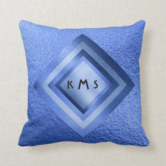 Vip Golden Blue Geometric Monogram Pillow