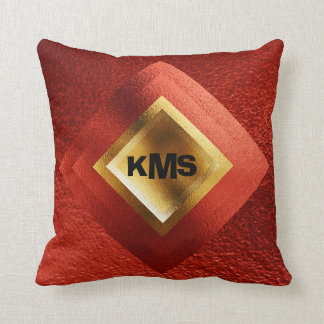 Vip Golden Red Geometric Monogram Pillow