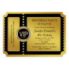 VIP Golden Ticket Birthday Party Card