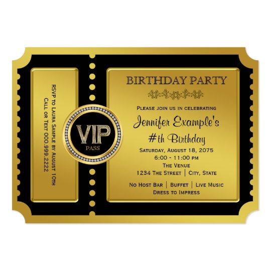 VIP Golden Ticket Birthday Party Card : Zazzle
