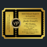 "VIP Golden Ticket Birthday Party Invitation<br><div class=""desc"">Beautiful golden ticket party invitation. You can easily customize this elegant VIP golden ticket birthday party and event ticket invitation by adding your details in the font style and color,  wording and layout of your choice. You can also change the background color.</div>"