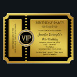 """VIP Golden Ticket Birthday Party Invitation<br><div class=""""desc"""">Beautiful golden ticket party invitation. You can easily customize this elegant VIP golden ticket birthday party and event ticket invitation by adding your details in the font style and color,  wording and layout of your choice. You can also change the background color.</div>"""