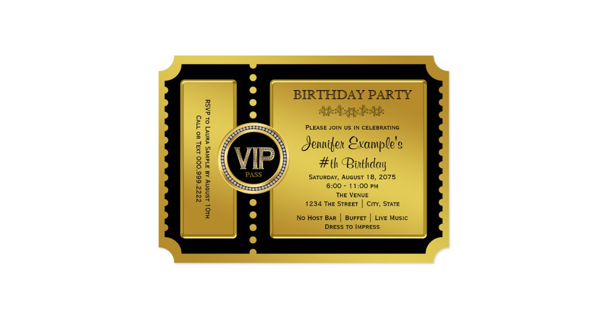 VIP Golden Ticket Birthday Party Invitation | Zazzle.com
