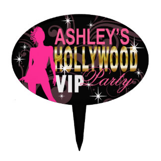 VIP Hollywood Party Girl - black and hot pink Cake Topper