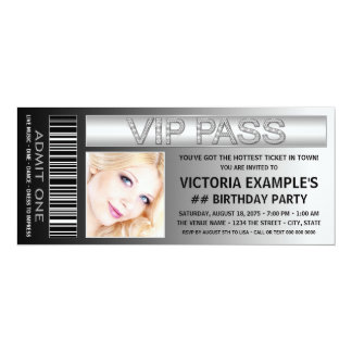 VIP Pass Admission Ticket Birthday Party Card