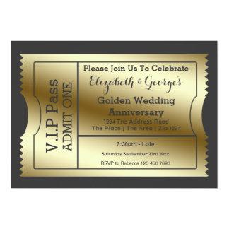 VIP Pass Golden Wedding Anniversary Ticket Card