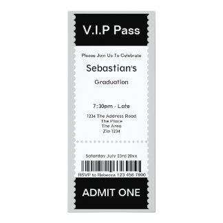 VIP Pass Graduation Party Admission Ticket Card
