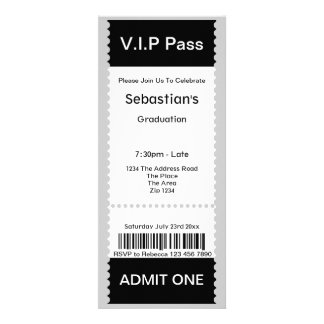 VIP Pass Graduation Party Admission Ticket Invitations
