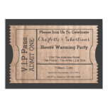 VIP Pass House Warming Cardboard Themed Ticket Invitations