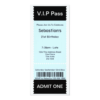 VIP Pass Party Admission Ticket 4x9.25 Paper Invitation Card
