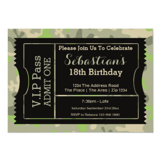 """VIP Pass Party Admission Ticket Military Themed 5"""" X 7"""" Invitation Card"""