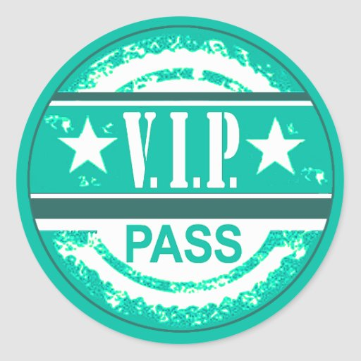 VIP Pass Party Sticker (aqua)