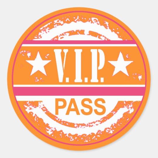 VIP Pass Party Sticker (pumpkin hot pink)