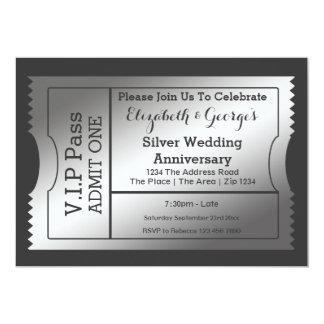 VIP Pass Silver Wedding Anniversary Ticket Card