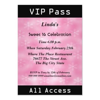 VIP pass Sweet 16 Birthday Party Pink Card