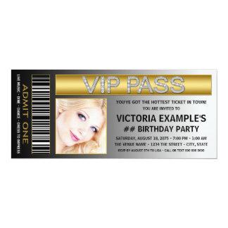 VIP Pass Ticket Birthday Party 4x9.25 Paper Invitation Card