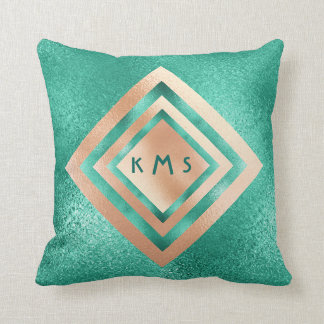 Vip Peach Aquatic Geometric Monogram Pillow