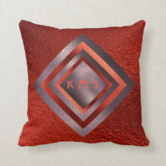 Vip Red Plum Geometric Monogram Pillow