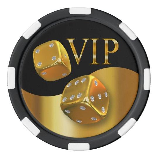 VIP Rolling Dice Las Vegas gold black Poker Chips