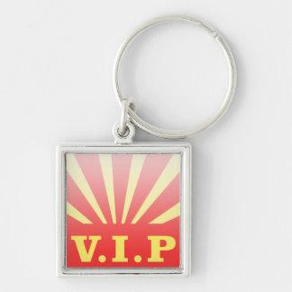 VIP sunburst Silver-Colored Square Keychain