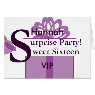 VIP Surprise Party Sweet Sixteen Invitation!-Cust. Greeting Card