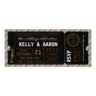 ViP Ticket Wedding Invitation in Black and Brown