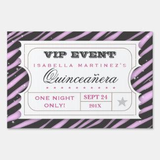 VIP Ticket Zebra Glam Quinceanera Party Sign
