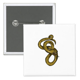 Viper Coiled Ready To Pounce Drawing Pinback Button