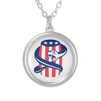 Viper Coiling Up Keg USA Flag Retro Round Pendant Necklace