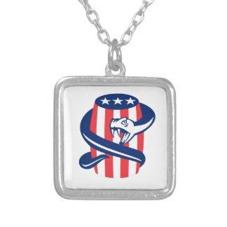 Viper Coiling Up Keg USA Flag Retro Square Pendant Necklace