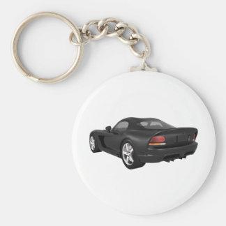 Viper Hard-Top Muscle Car: Black Finish Keychain