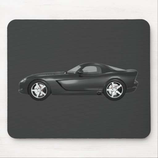Viper Hard-Top Muscle Car: Black Finish Mousepads