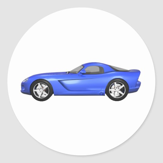 Viper Hard-Top Muscle Car: Blue Finish Classic Round Sticker
