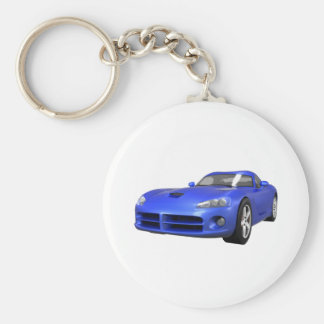 Viper Hard-Top Muscle Car: Blue Finish Keychain
