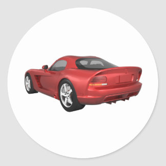 Viper Hard-Top Muscle Car: Red Finish Classic Round Sticker